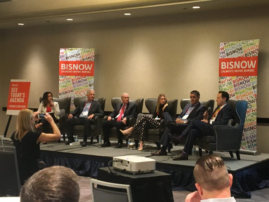 Candace Rosauro moderating at Bisnow